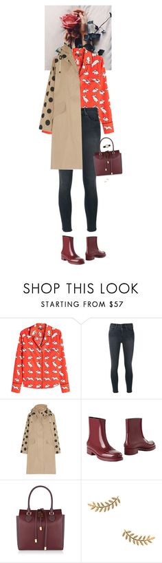 """""""Outfit of the Day"""" by wizmurphy ❤ liked on Polyvore featuring Markus Lupfer, rag & bone/JEAN, Mulberry, N°21, Michael Kors, Gorjana, ootd and rainyday"""