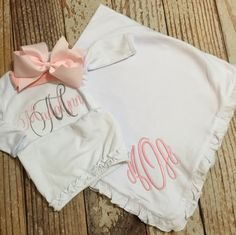 Personalized baby girl clothes baby girl take me home outfit monogrammed gown and blanket with matching bow baby shower gift baby girl coming negle Choice Image