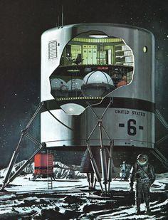 Moon landing 1960s vintage illustration by VintageAndNostalgia, $15.95