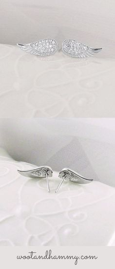 tiny angel wing earrings with big sparkle!