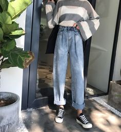 Simple Elegant All-match Trendy Korean Style High Waist Harem Long Trousers Jeans - BeFashionova High Jeans, High Waist Jeans, Vintage Jeans, Vintage Outfits, Ulzzang, Look Fashion, Fashion Outfits, Fashion Killa, Modest Fashion