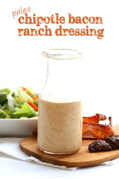 This is hands down my favorite low carb dressing recipe. Creamy and tangy, with … This is hands down my favorite low carb dressing recipe. Creamy and tangy, with just the right amount of smoky heat. It's dairy-free and paleo! Healthy Low Carb Recipes, Paleo Recipes, Real Food Recipes, Cooking Recipes, Recipes With Chicken Low Carb, Chicken Recipes, Low Carb Dressing, Paleo Dressing, Paleo Sauces
