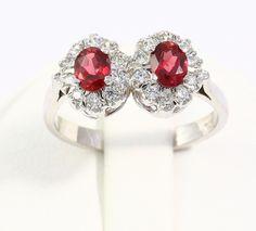 Amazing Real Natural Garnet&Zircon Gemstone Ring 925 Sterling Silver Free Ship #Handmade #Cluster