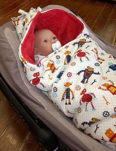Organic hooded car seat baby blanket with by Stoffenspinsels