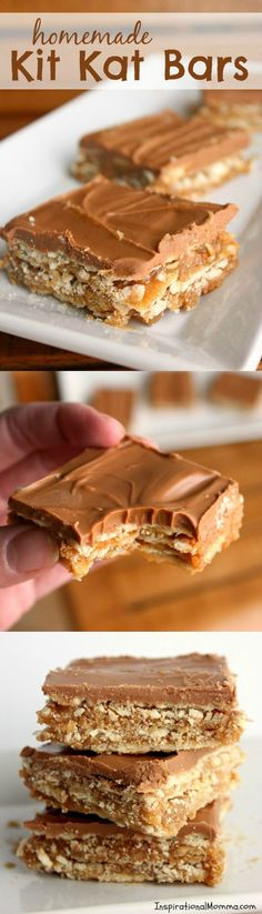 These Homemade Kit Kat Bars are filled with ooey-gooey caramel, surrounded with crunchy, flaky crackers, and covered with a perfect chocolate blend!
