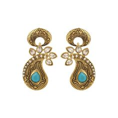 Pure collection antique golden firoza colour dangle earrings for women dilan jewels