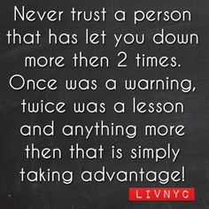 Once was a Warning, Twice was a Lesson ...