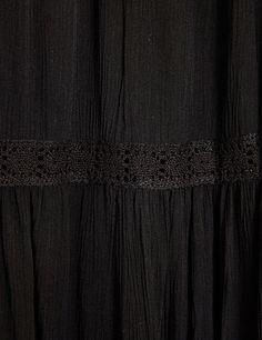 jupon détails macramés noir