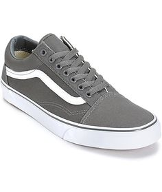 Throw on some classic style with a pewter canvas upper on a white vulcanized outsole and a Vans waffle tread pattern for tacky grip.