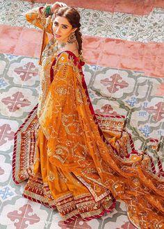 Velvet Lehnga, Brocade Lehnga, Gold Lehenga, Velvet Shawl, Kurti Patterns, Hand Work Embroidery, Orange Fabric, Dress Making, Bridal Dresses