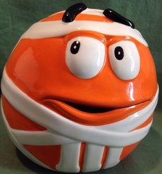 M M Galerie Candy Cookie Jar Orange Halloween Mummy Ceramic Decor | eBay
