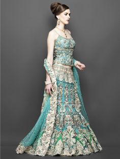 Sea-green-lehenga.  Indian bridal dress.