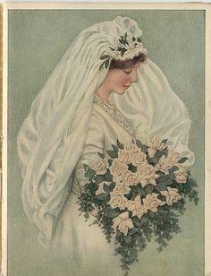 1915 Bride for Ivory Soap ad Images Vintage, Vintage Pictures, Wedding Art, Wedding Bride, Wedding Prints, Wedding Couples, Vintage Outfits, Vintage Fashion, Wedding Illustration
