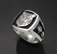 Chinese men's ring, year of the tiger. Zodiac ring.