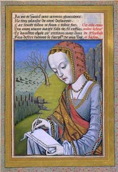 Note that she's writing the long way across the page. Medievals often preferred to use the paper in landscape rather than portrait orientation, in modern terms. [Medieval woman writer]