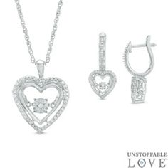 Celebrate your changing, growing and evolving romance with this heart-felt pendant and earrings set from the Unstoppable Love™ Collection. Crafted in sleek sterling silver, the heart-shaped pendant is lined with dazzling diamonds and a sleek polished open frame. At its center, a single diamond glistens in a unique setting that moves with every beat of her heart and every turn of her head. The pendant suspends along an 18.0-inch rope chain that secures with a spring-ring clasp. The