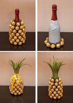 handmade home decor homedecor home decor Such a cute wedding or birthday gift idea! A champagne or wine bottle covered in Ferrero Rocher candies, decorated to look like a pineapple! Cheap Gifts, Diy Gifts, Unique Gifts, Food Gifts, Best Friend Christmas Gifts, Homemade Christmas Gifts, Pineapple Gifts, Wine Bottle Covers, Idee Diy