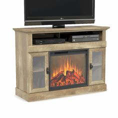 Better Homes & Gardens Crossmill Fireplace Media Console Weathered Finish Image 3 of 3