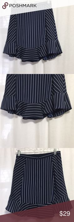 Jcrew Navy pinstripe Skirt Size 2. Fully lined. 100% poly J. Crew Skirts