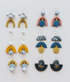 ear candy by iebis. Polymer Clay Crafts, Handmade Polymer Clay, Polymer Clay Jewelry, Diy Clay Earrings, Earrings Handmade, Handmade Jewelry, Jewelry Shop, Jewelry Design, Jewelry Making