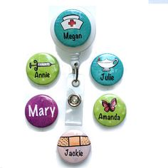 Custom Nurse ID Badge Reel or ID Lanyard - Personalized Interchangeable Nuse Badge Holder with 6 Magnets, Work, Nursing Student, Nurse Gift Nursing Students, Student Nurse, Halloween Candy Crafts, School Accessories, Id Badge Reels, Nursing Tips, Nurses Week, Nurse Life, Nurse Humor