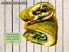 Green omelette wrap with quark cheese and turkey breast