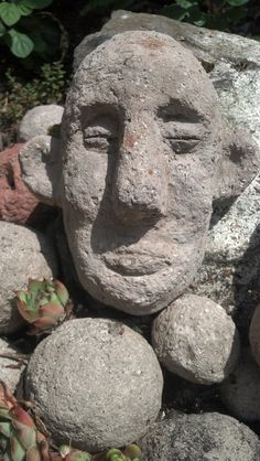 Hypertufa garden troll face, cement, concrete, sculpture, outdoor, gardening, art, quirky, unique, stone