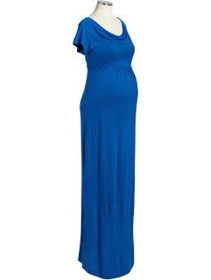 Sz Small Just Blue It. Maternity Cowl-Neck Jersey Maxi Dresses