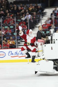Who needs a one-horse open sleigh when you can ride in a Zamboni, right Santa? #HockeyHolidays