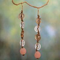 Recycled bead dangle earrings, 'Peachy Pretty' by NOVICA #handmade4life #westafrica
