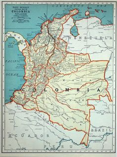 1937 Vintage Map of Colombia