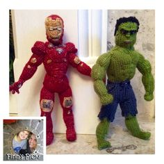 Finn's Pick: The Knitting Witch (aka Denise Salway) created a Marvel Tribute featuring Hulk & Iron Man #marvel #superheros #ironman #hulksmash #knit #knitting #knithacker