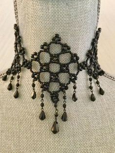 Vintage FRENCH JET CHOKER European Estate mourning Geo Bib faceted Jet glass Beads Jewelry Necklace Festoon Weaved Droplets seed bead choker