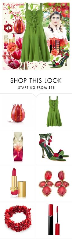 """""""I'm surrounded by your embrace"""" by julyralewis ❤ liked on Polyvore featuring Ted Baker, Christian Louboutin, Manolo Blahnik, Estée Lauder, Oscar de la Renta, Bling Jewelry and Giorgio Armani"""