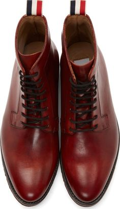 Thom Browne Oxblood Leather Zigzag Sole Derby Boots