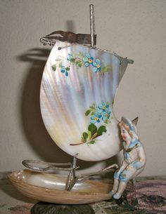 Vtg Antique Abalone Shell Art Boat Miniature Mussel Bisque Sailor Boy Painted