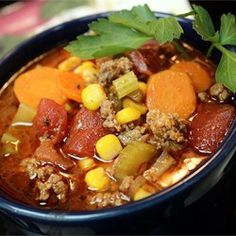 Hamburger Soup ~ A wonderful mix of vegetables and ground beef . . . great with homemade bread!