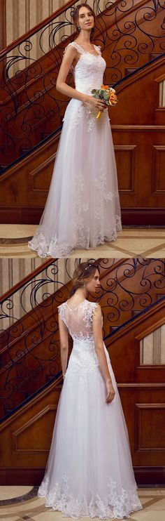 A-Line Straps Floor Length Lace Over Tulle Wedding Dress with Appliques Lace by LAN TING BRIDE®