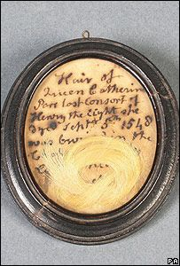 Lock of hair said to be from Catherine Parr