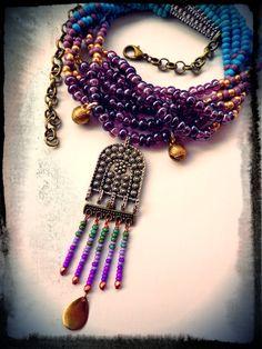 Ethnic Necklace Boho Jewelry Gypsy necklace Bali style by anainc