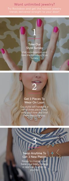 Unlimited designer jewelry for $21/month? Yes please! Try Rocksbox and get 3 pieces curated just for you by our stylists, delivered straight to your door!  Take the Style Survey to Get Started.