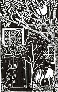 """The Listeners"" block print by Nydam Prints, via Flickr"