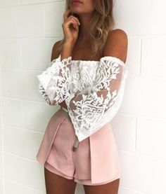 off shoulder lace + pleated shorts #ohmylove