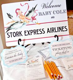 """Wow, I love to see this much creativity and imagination in a party....Way beyond just color theme, this is a fun-filled fantasy! Find the whole party at hwtm.com under """"Stork Express Airlines"""" Baby Shower"""