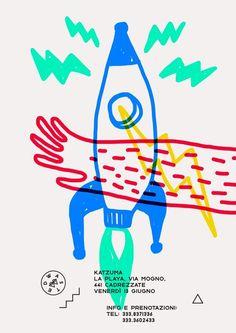 Graphic Design Marco_oggian-Flyer-Grafik-Inspiration-Fusee Mother Nature Loves an Oakland Garden Put Illustration Design Graphique, Graphic Illustration, Night Illustration, Graphic Design Posters, Graphic Design Inspiration, Kids Graphic Design, Graphic Designers, Web Design, Design Art