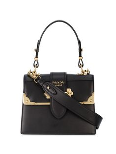 b3c86a6b49cfc Prada Black Cahier Medium Leather Tote Bag - Farfetch