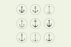 Anchor, crown, arrow icons by Elegant Solution on Creative Market Anchor Icon, Anchor Logo, Small Anchor Tattoos, Small Tattoos, Family Tattoos, Business Brochure, Business Card Logo, Petit Tattoo, Anker Tattoo