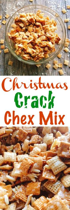 An easy, sweet Chex Mix that you won't be able to stop eating! A delicious, sweet Chex Mix filled with Golden Grahams, Rice Chex, slivered almonds and coconut. A great snack for Holiday Parties or given as a Christmas gift. Chex Mix Recipes, Snack Recipes, Cooking Recipes, Fudge Recipes, Candy Recipes, Dessert Recipes, Christmas Appetizers, Best Appetizers, Christmas Crack