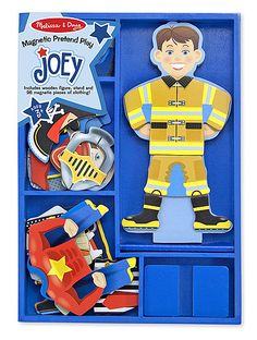 Joey Magnetic Dress-Up Set : Whatever role hes playing, Joey can be suitably attired! Whether its a police officer, a super hero, a knight, fireman, a construction worker or a pirate, he is ready for adventure at a moments notice. This set includes a magnetic wooden dress-up figure with a wooden stand and magnetic clothing pieces for pretend play!