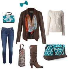 """Weekend Away!""  Polish your weekend look with Thirty-One's Retro Metro Weekender and Every-Day wristlet in Teal Mod Dot, and the Perfect Bottle Thermal in Brown Woodblock Floral, perfect for keeping your wine chilled!"
